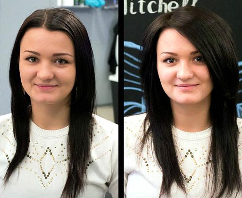 Фото прикорневого объема до и после
